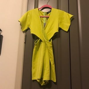 Missguided lime green cutout romper